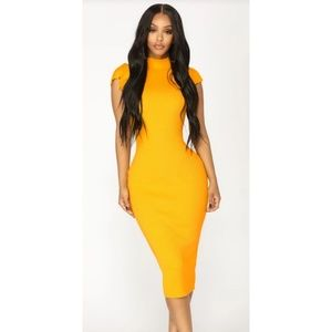 Fashion Nova Mustard Dress
